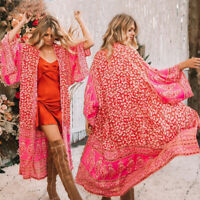 Women/Lady Vintage Floral Loose Shawl Kimono Cardigan Boho Tops Jacket Blouse