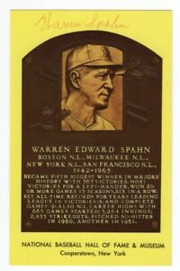 Warren Spahn - MLB Hall of Fame - Autographed Hall of Fame Plaque Postcard