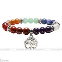 7Chakra Natural Gemstone Beads Life Of Tree Charm Healing Point  Stone Bracelet