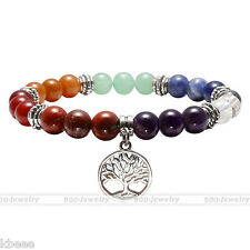 7Chakra Natural Gemstone Beads Life Of Tree Charm Healing Point  Stone Bracelet