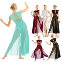Women Modern Lyrical Maxi Long Dress Floral Sequins Dance Performance Costume
