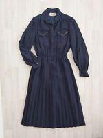 Vintage Navy Blue Midi Dress Size 8 10 12 Floral Pleated Skirt