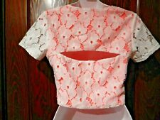 GUESS neon coral white lace cropped bolero jacket top shrug cutout edgy XS S 4S