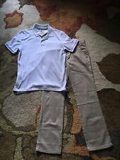 Nwt Uniform Pant Set Khaki Size 14R Boys Flat Front Adj Waist Chaps White Polo