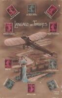 Cartolina Langage des timbres Linguaggio dei timbri aereo illustrata innamorati