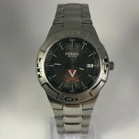 Fossil Mens PR-5330 Silver Tone Stainless Steel Date Indicator Analog Watch