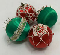 4 Vintage Silk Pearl Fand Beaded Jewels Crochet Christmas Ornaments Hand Made