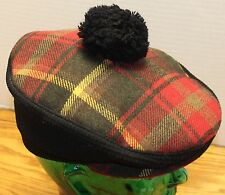 VINTAGE PICCADILLY PLAID TAM HAT SIZE S/M MADE IN ENGLAND ACRYLIC/WOOL VGC