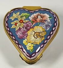 Halcyon Days English Enamels Mixed Flowers Heart Shaped Trinket Box