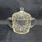 Pressed Glass Lidded Sugar Bowl Floral Diamond Pattern