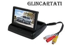 MONITOR LCD TFT 4,3'' TELECAMERA RETROMARCIA A COLORI PIEGHEVOLE AUTO CAMPER
