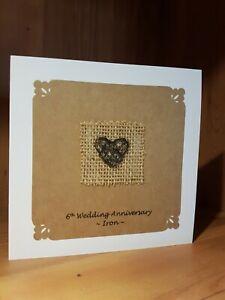 Handmade 6th Wedding Anniversary Card. Iron anniversary card