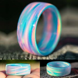 Blue Cloud Opal Ring Colorful Chunky Rings Bands Girl Women Beach Jewelry Size11