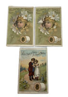 Lot Of 3 J&P Coats Thread Advertising Victorian Trade Cards / Used AS IS
