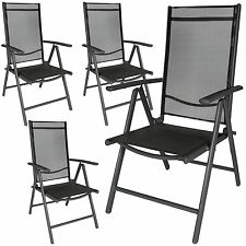Lot de 4 aluminium chaises de jardin pliante camping terrasse balcon anthracite