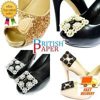 NEW DIAMANTE RHINESTONE CRYSTAL DECORATIVE PEARL GOLD SHOE CLIPS BOW PAIR BUCKLE