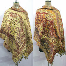 Reversible Indian Wool Wrap Shawl Scarf Stole Poncho Pashmina Cover Up B40
