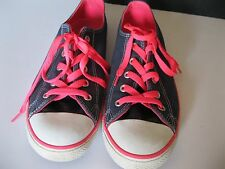 CONVERSE ALL STAR BLUE/PINK CANVAS LOW TOP SNEAKERS, SIZE 9M