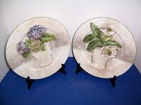 "Purple & White Flowers American Atelier Floral Bouquet 2 Dinner Plates (10.5"")"