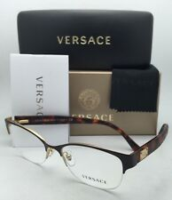 New VERSACE Eyeglasses 1222 1344 53-17 Gold Brown & Tortoise Semi-Rimless Frames