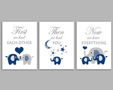 Elephant Pictures / First We Had Each Other / Dark Blue / Set Of 3 Prints