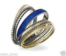 Material Girl Bracelet Set, Gold-Tone and Hematite-Tone Glitter Bangle Bracelets