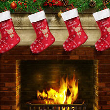 Christmas deer pattern stockings socks tree hanging home fireplace stove decor^F