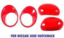 SET RED LH+RH MIRROR + HEAD LIGHT LAMP COVER FOR NISSAN JUKE 5DR HATCHBACK 11-15
