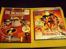 (2) Disney Pixar The Incredibles Blu-Ray/Dvd Lot: Incredibles 1 & 2 w/Slipcovers
