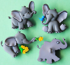Tiny BAULI-Baby Grigio Elefante ZOO SAFARI AFRICANO dress It Up Bottoni Craft