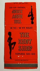 The Body Shop Topless Go-Go Strip Club California Vintage 50's Matchbook Cover