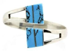 Vintage .950 Sterling Silver Taxco Mexico Turquoise Hinged Cuff Bracelet B34