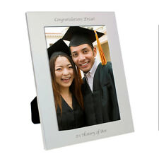 "Personalised Silver Plated Portrait Photo Frame Holds 4"" x 6"" Graduation Gift"