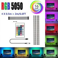 5V USB Flexible LED Tira de Luces Multi Color 5050 RGB Impermeable para TV Fondo