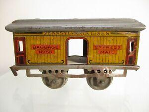O Gauge Ives No 50 Baggage Mail Car Yellow Litho 1910 Prewar X7508