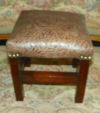 Solid Walnut Small Tooled Leather Footstool / Stool  (RP-ST96)
