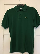 Hommes Lacoste Vert Polo Chemise-Taille 3 (petit)