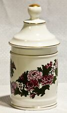 """Vintage"" Andrea by Sadek  Ginger Jar Flower Design Gold Trim Vase Lid Canister"