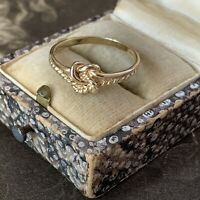 Vintage 9ct Gold Knot Ring Style Double Twisted lovers Knot Hallmark UK Q US 8