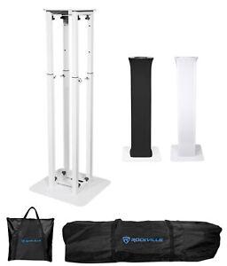 Rockville RTP82W 8 ft. Adjustable White Totem Moving Head Light Stand+Scrim+Bag