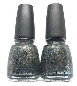 China Glaze Nail Polish Tinsel Town 1022 Silver Gray Navy Blue Glitter Lacquer