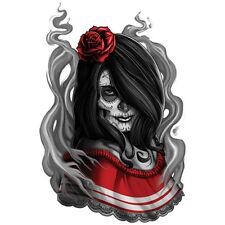 """""""Negro y Gris"""" Temporary Tattoo, Dia de los Muertos Senorita Dancer, Sugar Skull"""