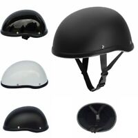 Motorcycle Half Helmet Skull Cap Flat Skid Lid Lightweight Scooter Chopper Dot