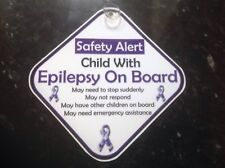 car sign child with epilepsy on board safety sign