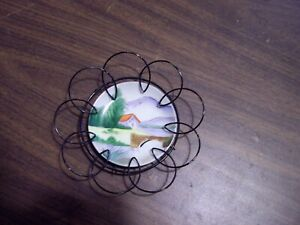 Japan Hand Painted Vintage Plate In black Metal Wire Round Hangers Wall Decor