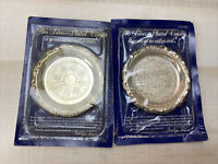 2x 1988 Vintage Readers Digest Exclusive Silver Plated Coaster Italy Lot Of 2