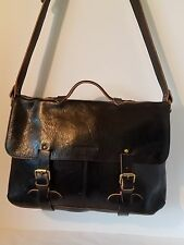 Johnston & Murphy BLACK Vintage Collection Leather Flap over Briefcase ☆UNISEX☆