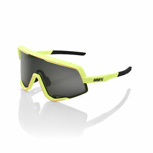 100% Sunglasses GLENDALE - Soft Tact Washed Out Neon Yellow - Smoke Lens