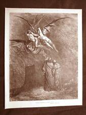 Incisione Gustave Dorè del 1890 Erinni Erine Furie Dite Divina Commedia Inferno