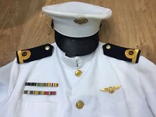 Authentic Navy Service Dress White , With Hat Medals Etc ,Tunic No 1W RM Officer